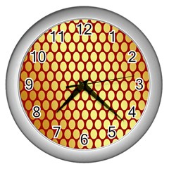 Red And Gold Effect Backing Paper Wall Clocks (silver)
