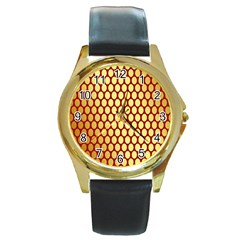 Red And Gold Effect Backing Paper Round Gold Metal Watch