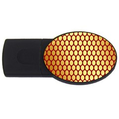 Red And Gold Effect Backing Paper USB Flash Drive Oval (1 GB)