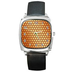 Red And Gold Effect Backing Paper Square Metal Watch