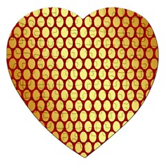 Red And Gold Effect Backing Paper Jigsaw Puzzle (Heart)