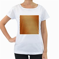 Red And Gold Effect Backing Paper Women s Loose-Fit T-Shirt (White)