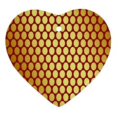 Red And Gold Effect Backing Paper Heart Ornament (Two Sides)