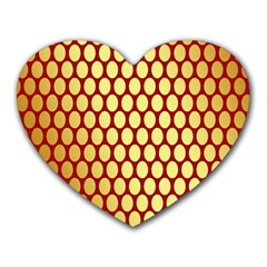 Red And Gold Effect Backing Paper Heart Mousepads
