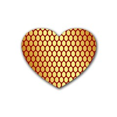Red And Gold Effect Backing Paper Rubber Coaster (heart)