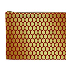 Red And Gold Effect Backing Paper Cosmetic Bag (xl)