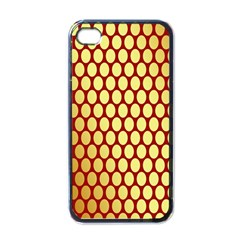 Red And Gold Effect Backing Paper Apple Iphone 4 Case (black)