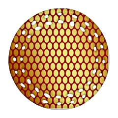 Red And Gold Effect Backing Paper Round Filigree Ornament (Two Sides)