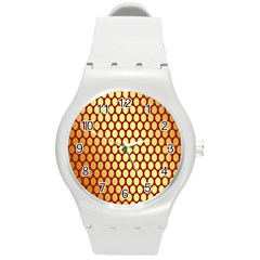 Red And Gold Effect Backing Paper Round Plastic Sport Watch (m)