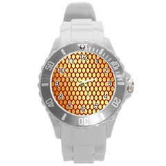 Red And Gold Effect Backing Paper Round Plastic Sport Watch (l)