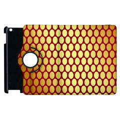 Red And Gold Effect Backing Paper Apple Ipad 3/4 Flip 360 Case