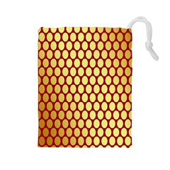 Red And Gold Effect Backing Paper Drawstring Pouches (large)