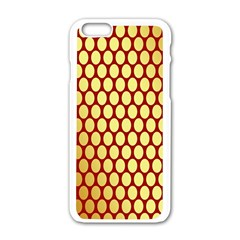 Red And Gold Effect Backing Paper Apple Iphone 6/6s White Enamel Case