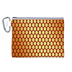 Red And Gold Effect Backing Paper Canvas Cosmetic Bag (L)