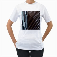 Red And Black High Rise Building Women s T-Shirt (White) (Two Sided)