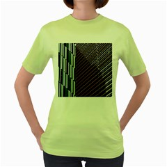 Red And Black High Rise Building Women s Green T-Shirt