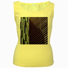Red And Black High Rise Building Women s Yellow Tank Top