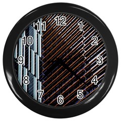 Red And Black High Rise Building Wall Clocks (Black)