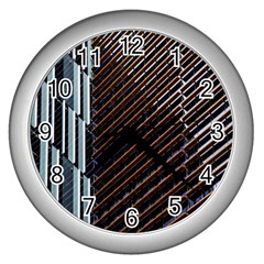 Red And Black High Rise Building Wall Clocks (Silver)