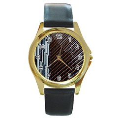 Red And Black High Rise Building Round Gold Metal Watch
