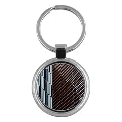 Red And Black High Rise Building Key Chains (Round)
