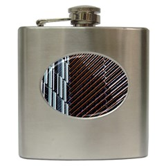 Red And Black High Rise Building Hip Flask (6 oz)