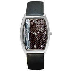 Red And Black High Rise Building Barrel Style Metal Watch