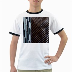 Red And Black High Rise Building Ringer T-Shirts
