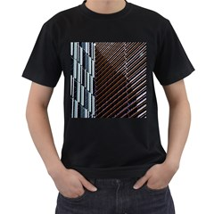 Red And Black High Rise Building Men s T-Shirt (Black) (Two Sided)