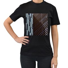Red And Black High Rise Building Women s T-Shirt (Black) (Two Sided)
