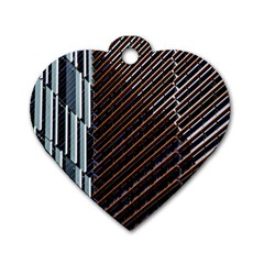Red And Black High Rise Building Dog Tag Heart (one Side)
