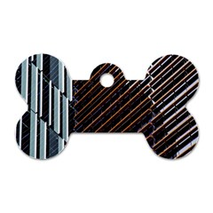 Red And Black High Rise Building Dog Tag Bone (Two Sides)