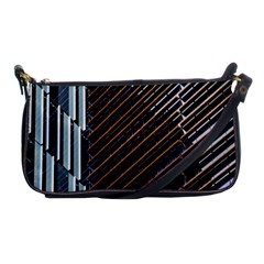 Red And Black High Rise Building Shoulder Clutch Bags