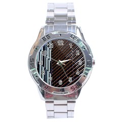 Red And Black High Rise Building Stainless Steel Analogue Watch
