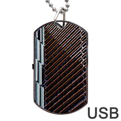 Red And Black High Rise Building Dog Tag USB Flash (One Side)