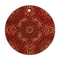 Red Tile Background Image Pattern Ornament (round)