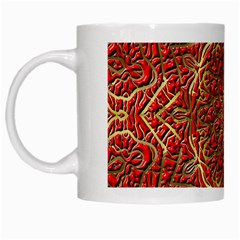 Red Tile Background Image Pattern White Mugs