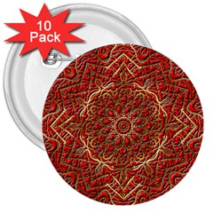 Red Tile Background Image Pattern 3  Buttons (10 Pack)