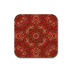 Red Tile Background Image Pattern Rubber Square Coaster (4 Pack)