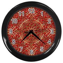 Red Tile Background Image Pattern Wall Clocks (black)