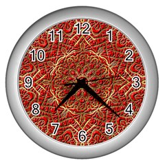 Red Tile Background Image Pattern Wall Clocks (Silver)