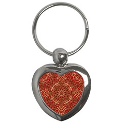 Red Tile Background Image Pattern Key Chains (heart)
