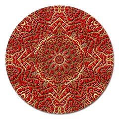 Red Tile Background Image Pattern Magnet 5  (round)
