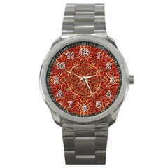 Red Tile Background Image Pattern Sport Metal Watch