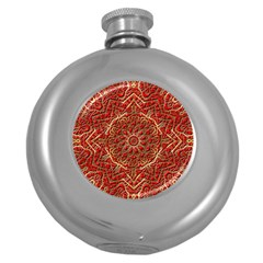 Red Tile Background Image Pattern Round Hip Flask (5 oz)
