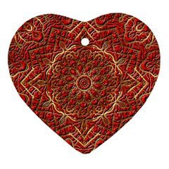 Red Tile Background Image Pattern Heart Ornament (Two Sides)