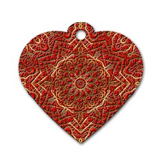 Red Tile Background Image Pattern Dog Tag Heart (Two Sides)