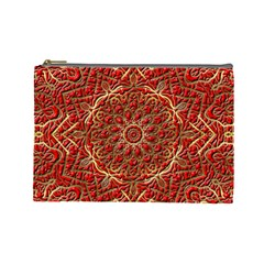 Red Tile Background Image Pattern Cosmetic Bag (Large)