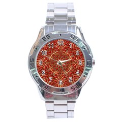 Red Tile Background Image Pattern Stainless Steel Analogue Watch