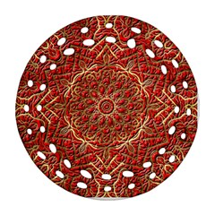Red Tile Background Image Pattern Round Filigree Ornament (two Sides)